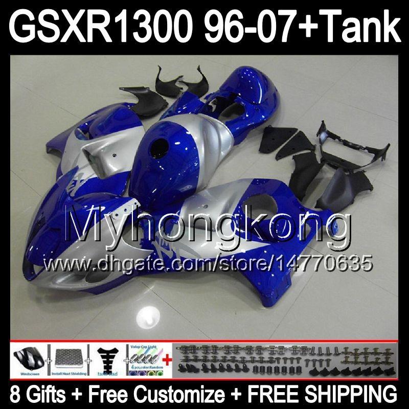 8gift For gloss blue SUZUKI Hayabusa GSXR1300 96 97 98 99 00 01 13MY248 GSXR 1300 GSX-R1300 GSX R1300 02 03 04 05 06 07 silver blue Fairing