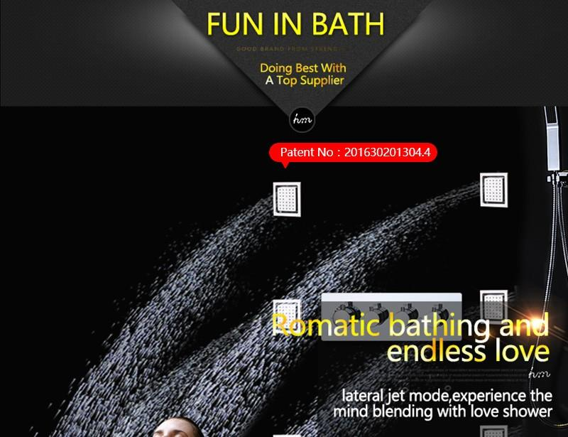 hm LED Rain Shower Set with 2 Lights with Handshower Body Jet Massage Thermostatic Mixer Bathroom Ceiling (5)