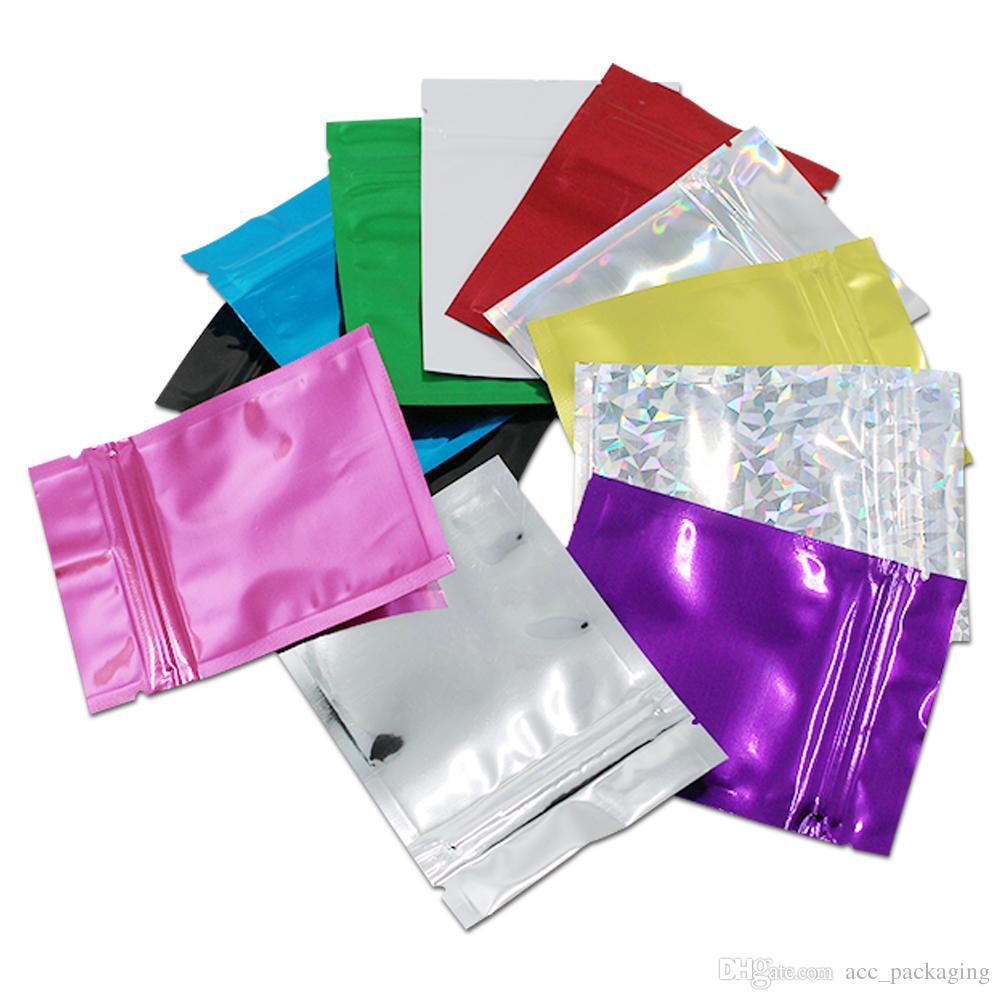 200pcs / Lot 7.5 * 10cm fechamento Zipper colorido alumínio folha de embalagem Bag Resealable para Zip mantimento de armazenamento de bloqueio Mylar Embalagem Retail Pouch
