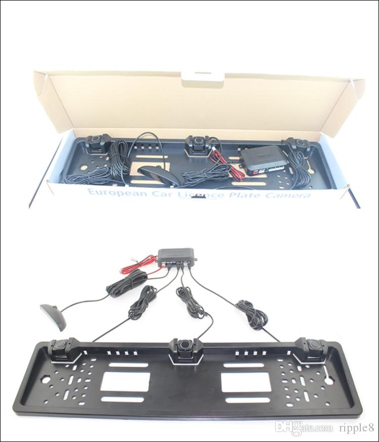 European European Plate Plate Sensore di parcheggio NO foratura LCD a LED Quattro sensori Human Voice Bibi Sound 64 colori da scegliere