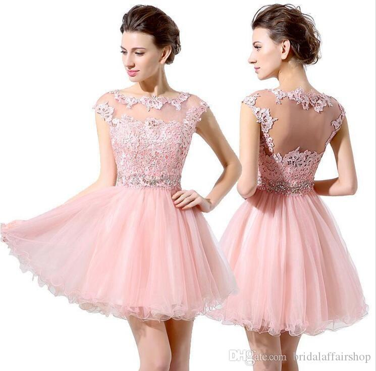 91d6785581d1 A-Line Fit & Flare Jewel Neck Short / Mini Lace Tulle Cocktail Party Homecoming  Prom Dress with Lace
