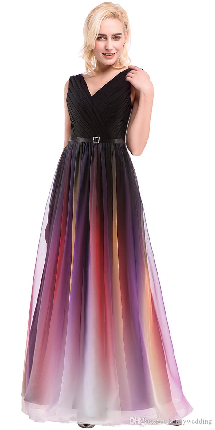 Vestidos Gradiente Desgaste da Noite 2017 Vestido de Baile Baratos Com Decote Em V Plissado Chiffon Longo Formal Partido Evening Vestidos Foto Real