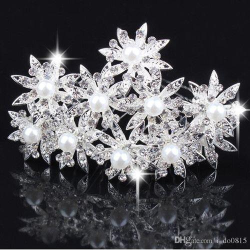 2017 wholesale fashion wedding accessories crystals hair pieces gold faux pearl headpieces u pins bridal hair