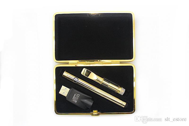 2018 Golden glass vape battery Kit Vaporizer bud touch 280mAh battery O pen CartridgeVapor WAX thick Oil atomizer tank e cig starter kits