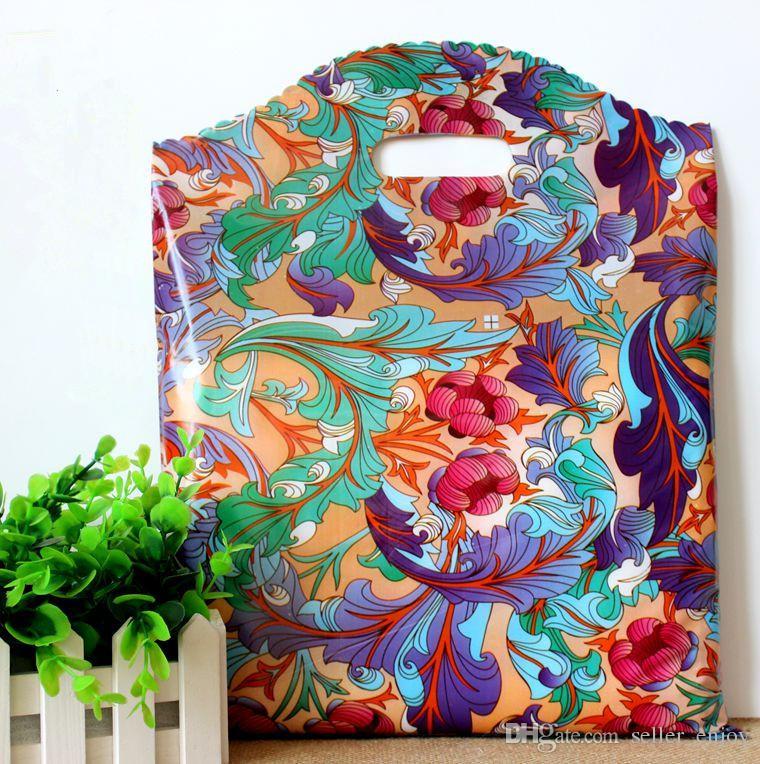 50Pcs 25 * 35cm China-Art-Blumen-Muster Oper Kunststoff-Farbe-Geschenk-Beutel-Geschenk-Beutel Kleidung