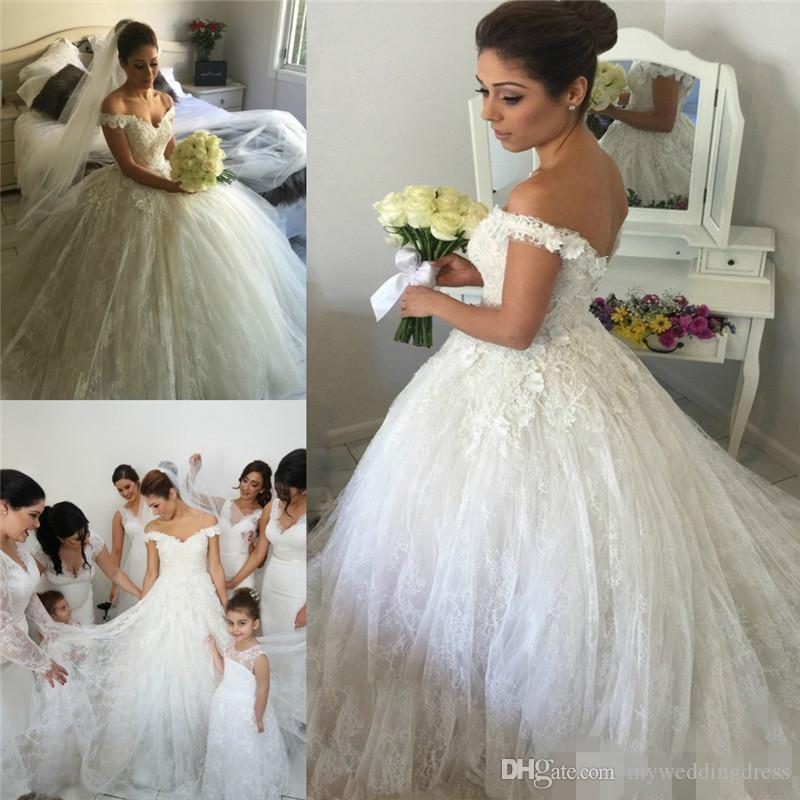 Classic Victorian Ball Gowns Wedding Dresses 2017 Vintage Lace Flowers Beads White Tulle Pnina Tornai Off Shoulder Long Bridal 2018 From