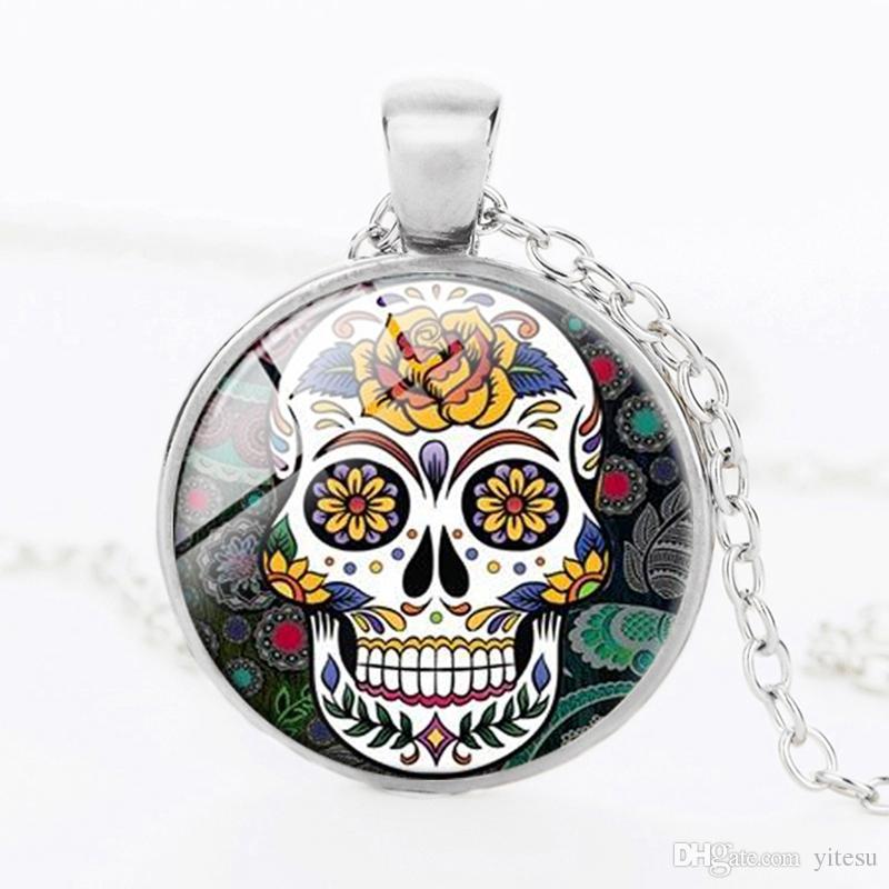 Day of the Dead Jewelry Supplies Mexican Sugar Skull Pendant Dia de los Muertos Necklace Pendant