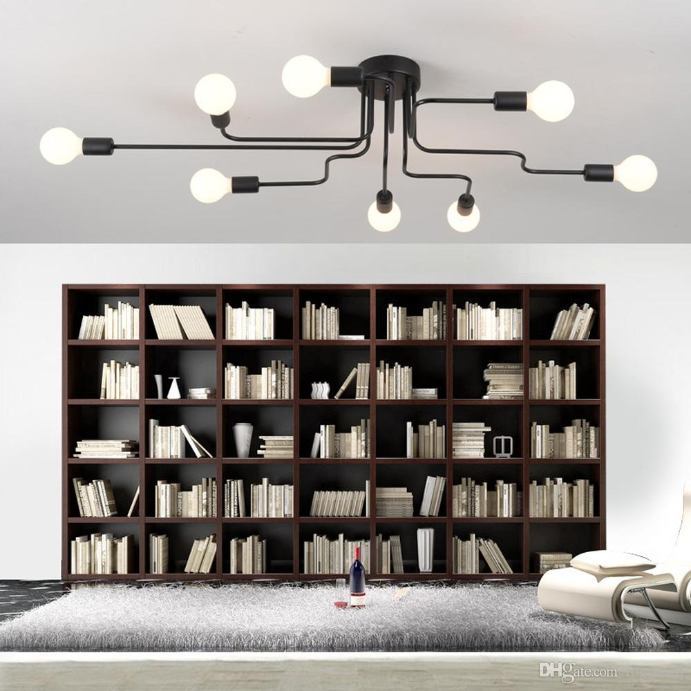 Led Ceiling Lights Luminaire Multiple Rod Wrought Iron Ceiling Lamp E27 Bulb Living Room Lamparas De Techo