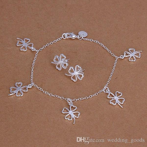 best gift Clover silver plated jewelry sets for women WS148,nice 925 silver necklace bracelet earring ring set
