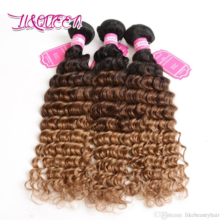 Ombre Hair Bundles 1B-4-27 Deep Wave Malaysian Human Hair Extensions Three Tone Unprocessed Beauty Hair Bundles Deep Wave