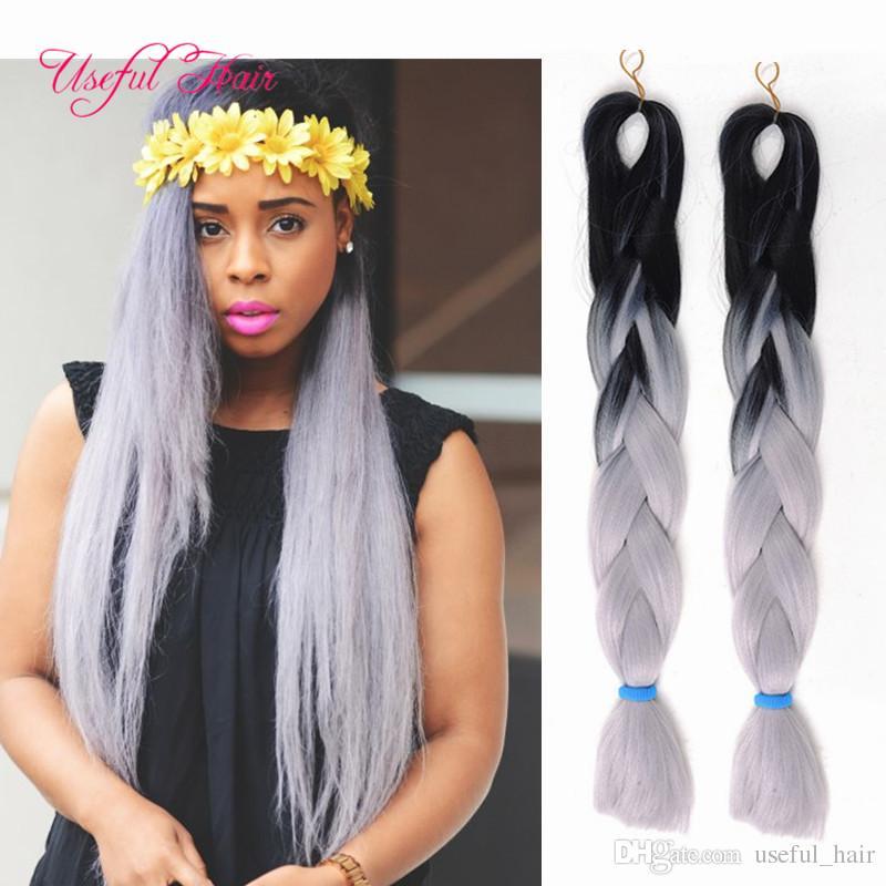 Größere nützliche JUMBO BRAIDS MARLEY TWEIST Premium 24inch SYNTHETISCHE Flechten Haare Ombre Farbe häkeln Haarverlängerungen häkeln Zöpfe Haar