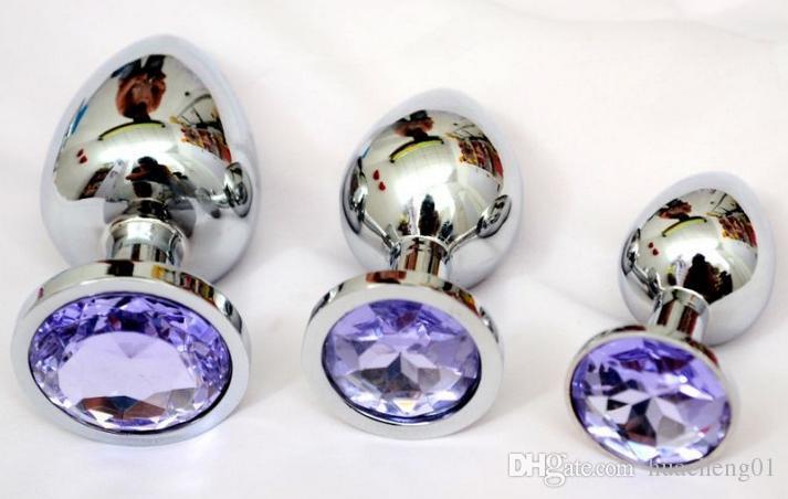 Bouchon de stimulation en acier à bout en acier inoxydable Anal anus jouets, dildo métal fiche bout à bout, bijoux de cristal sexe 70 * 28mm SMKSB