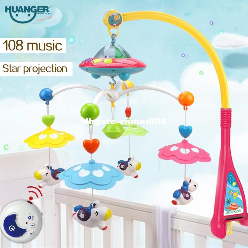 Dhgate Musical Berço Cama Móvel Sino Chocalho Do Bebê Girando Bracket Projetando Brinquedos para 0-12 Meses Recém-nascido Crianças presente de Batismo