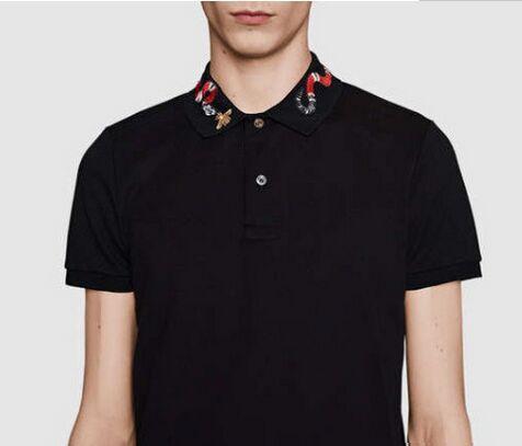 Neue Männer Polo Hemd Sommer Schlange Stickerei Kragen Mode T-shirt Kurze-Sleeved T-Shirt Männer Polo Schlange Polo Hemden