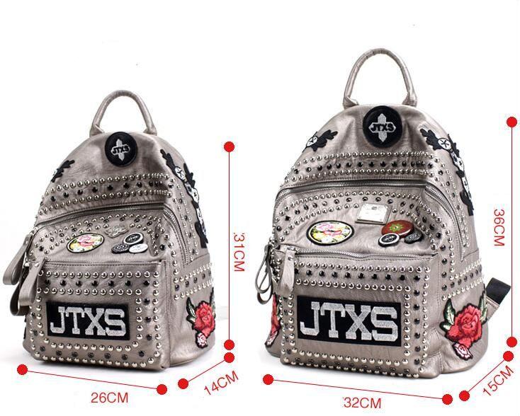 2017 Hong Kong echte JTXS Umhängetasche weibliche koreanische Version der Rucksack Gezeiten PU Alphabet Reisetasche Stickerei Nieten Tasche