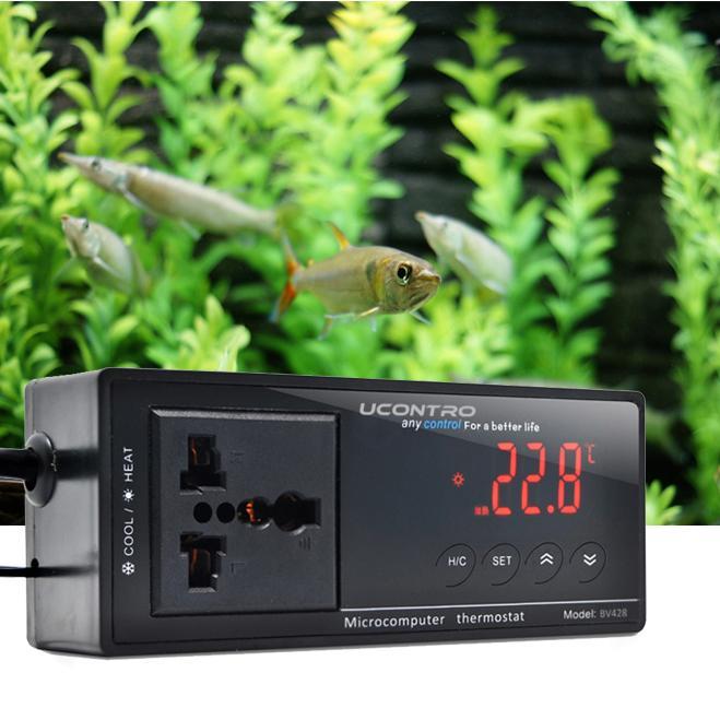 UCONTRO -40 ~ 212 F / -40 ~ 100 C termostato elettronico commutabile regolatore di temperatura digitale w / presa per rettile, acquario, regolatore