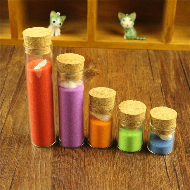 Glass Vials Jars Test Tube With Cork Stopper Empty Glass Transparent Clear Bottles