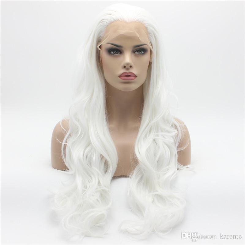 Ивона Волосы Красивые Волнистые Длинные Белые Хэллоуин Парик 12#1001 Половина Ручной Связали Жаропрочных Синтетические Кружева Парик