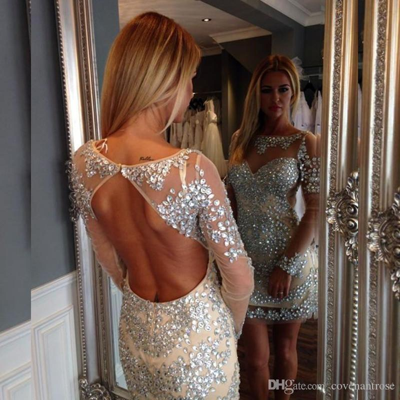 2017 Sexy Mini Cocktail Dresses Short Prom Dressess Long Sleeve Shining Beaded Women Special occasion Cocktail Party Dress