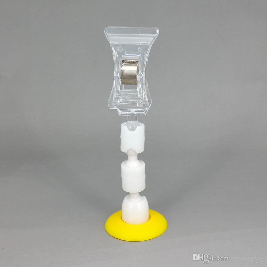 Clip di promozione del cartellino del prezzo del supporto della carta di plastica di POP.28mm di base bianca o gialla di base H85mm per il segno dell'esposizione del negozio al minuto 30pcs
