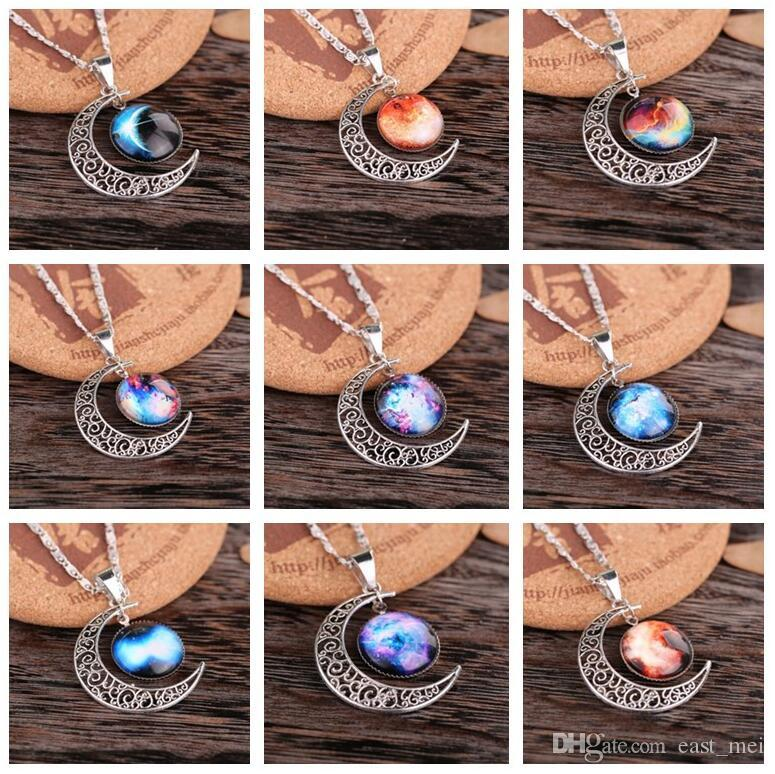 Hochwertiger Abschnitt Stern durch die Halskette Sky Moon Edelstein Halskette WFN194 (mit Kette) Mischungsauftrag 20 Stück viel