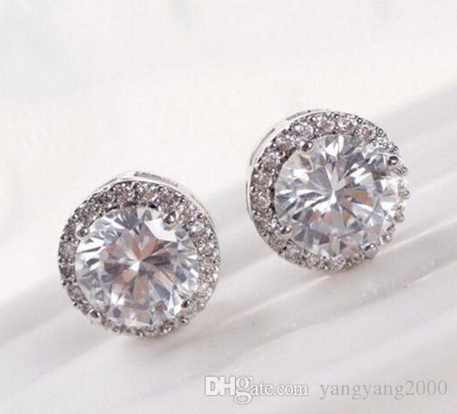 Venda quente por atacado brincos temperamento moda cheia de brincos redondos de diamante