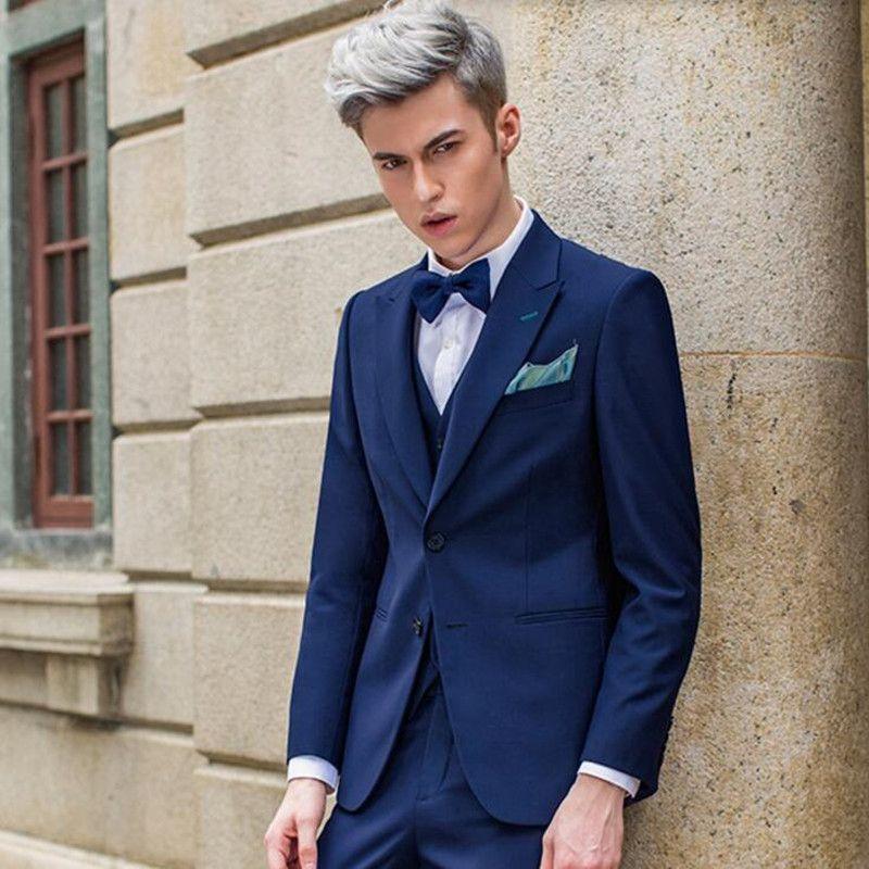 Kraliyet mavi erkekler suits yeni varış damat düğün takımları özel yapılmış sağdıç moda pron parti smokin takımları (ceket + pantolon + yelek)