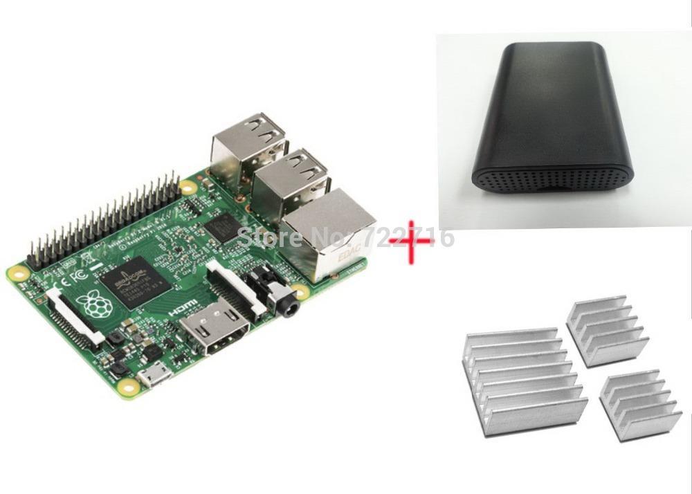Freeshipping 3 IN 1 Originale Raspberry Pi 3 Modello B + 1 cassa ABS nera + 3 dissipatori di calore, Ras PI3 B, PI 3B con WiFiBluetooth
