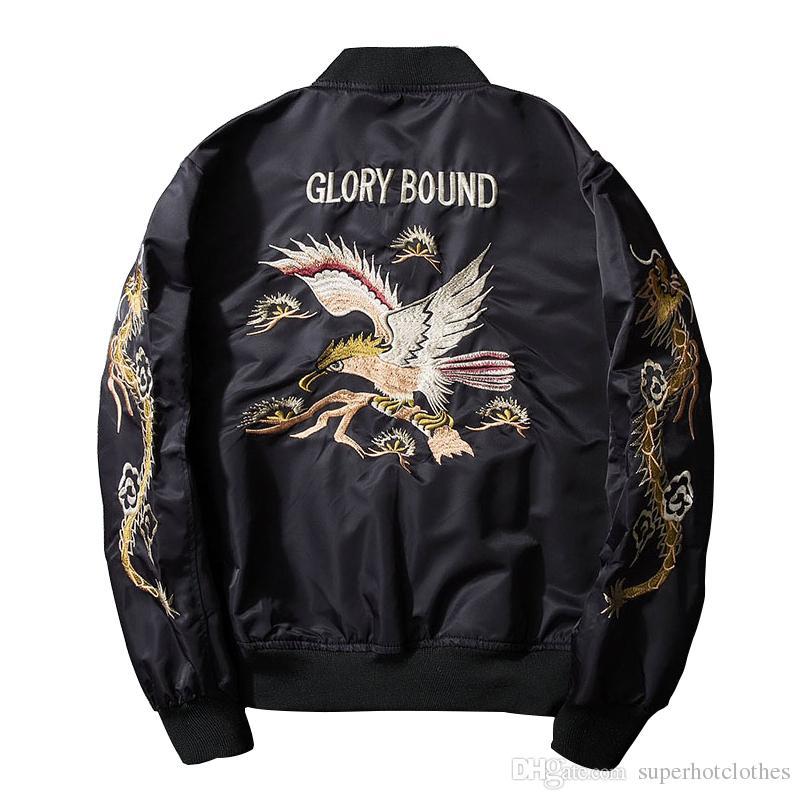 2017 nova primavera preto bordado yokosuka japão jaqueta homens streetwear marca clothing