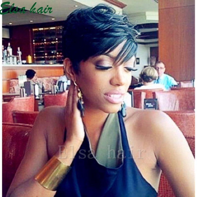 Brasilianische Jungfrau Kurze Keine spitzeperücken pixie menschenhaarperücken Für Schwarze Frauen Kurze menschenhaar maschine aus Bob Perücke