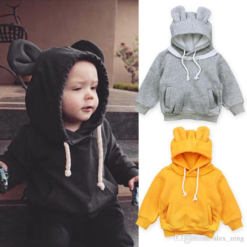 Newborn Baby Boys Girls Warm Coat Long Sleeve Hooded Bear Outerwear Kids Jacket