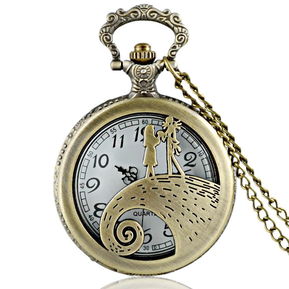 Großhandels-Neuheiten Antique Bronze Hollow Nightmare Before Christmas Taschenuhr Halskette Männer Fob Quarzuhr Geschenk