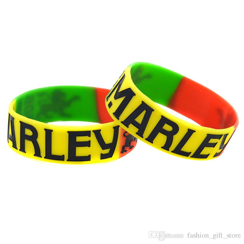 1PC Segmented Color Bob Marley Silicone Wristband Ink-Filled Logo Support Your Idol By Wear The Colourful Jewelry
