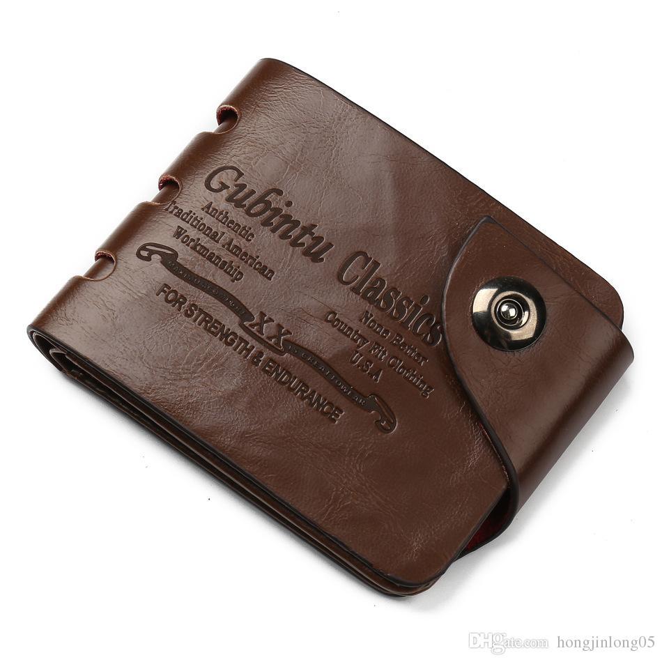 사이드 버클 중공업 패션 디자인 남성용 지갑 품질 Hasp 캐주얼 브라운 3 접이식 지갑 카드 지갑 지갑 남성용 무료 배송