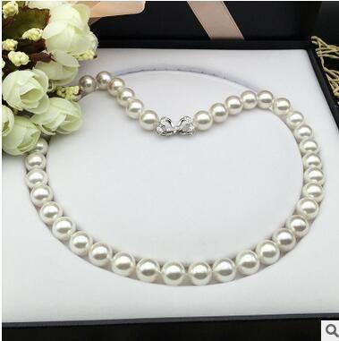 Halloween White shell collana di perle 10mm mm luce quasi nessun tempo profondo rotondo mollusco conchiglia perle perline 45 cm