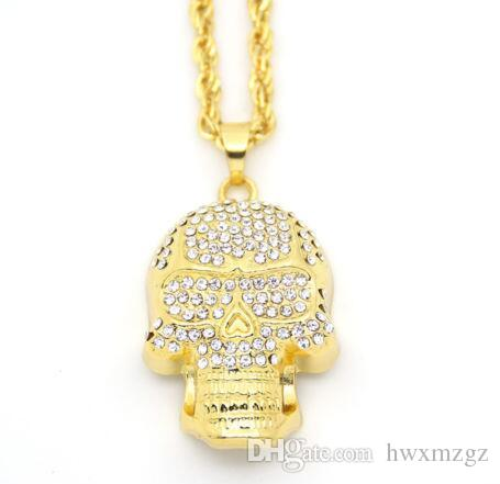 18k Gold Plated Hip Hop Necklace Skull Head Fully CZ Pendant Wheat Chain