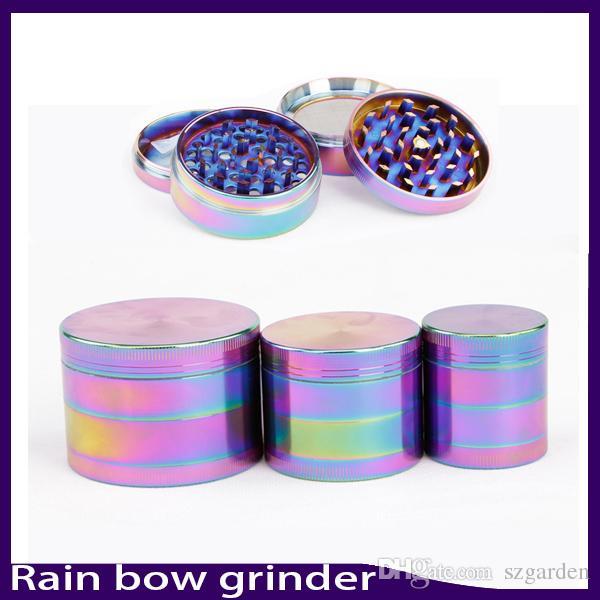 Bonito 40/50/55 / 63mm Rainbow Grinder 4 Peças Moedor de Liga de Zinco Tabaco Herb Grinder fit torção de vidro sem corte 0266135-1