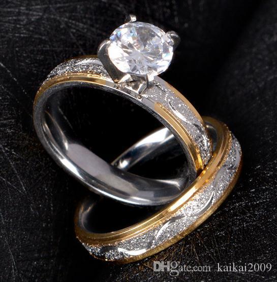 Europa e nos Estados Unidos anel de aço inoxidável zircão criativo duplo conjuntos de anel