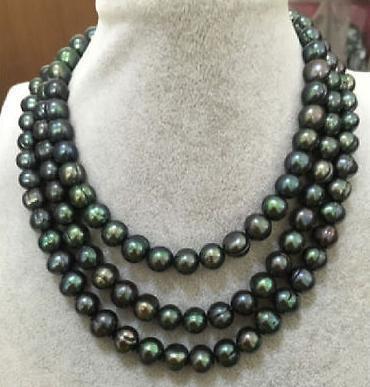 Magnifique collier de perles de tahitian vert paon vert 11-12mm 48 pouces fermoir en or 14 carats