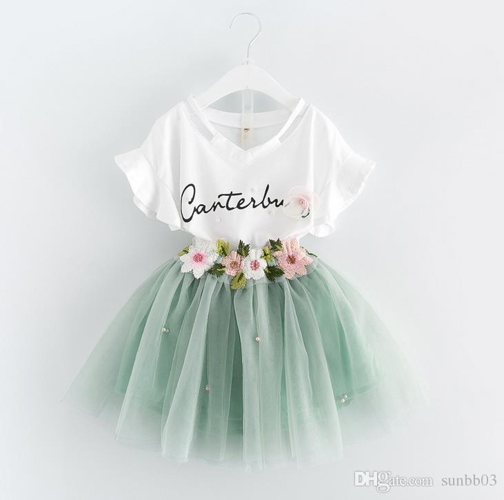Nouveau Summer Girls Robe Ensemble Bébé Enfants Lettres Coton Tshirt + Broderie Fleur Dentelle Tulle Jupe Tulle 2pcs Vêtements Vêtements Enfants Tenue 13031