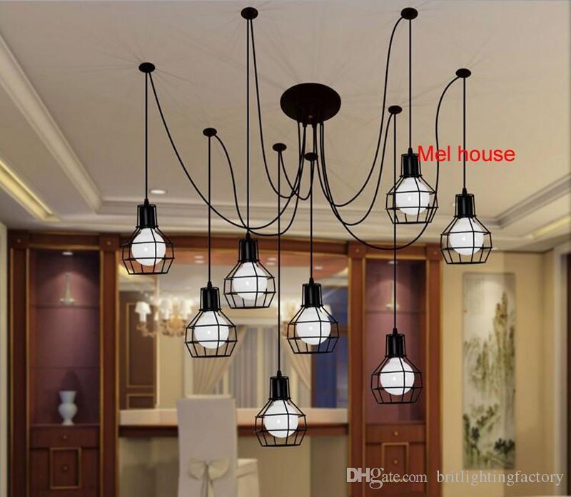 retro lampada a sospensione Coffee hall bar Spider Lamps industria del ristorante personalità creativa lampade a sospensione Hotel decorativi ferro da ufficio luce
