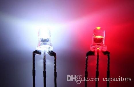 смешайте 10kinds биколор biocolor 3мм 5мм светодиод красный / белый синий / белый цвет прозрачный Отраженные