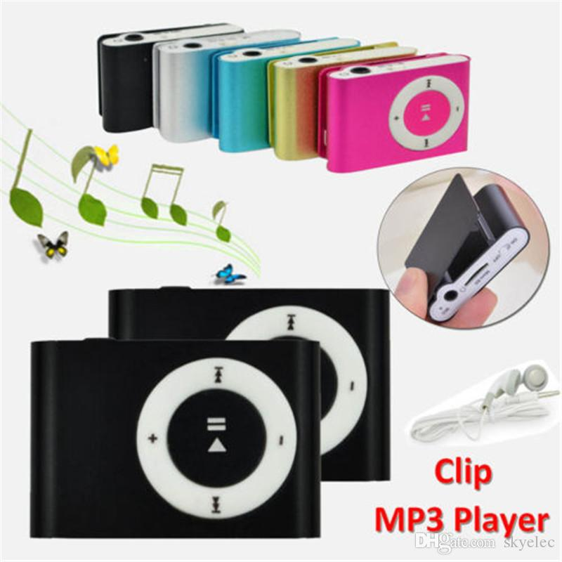 Mini Clip Lecteur Fente En Métal Mp3 Sd Tf Micro Carte Clip Rechargeable Usb Mode Câble Casque Crystal Électronique Sport Touch Tone En Gros