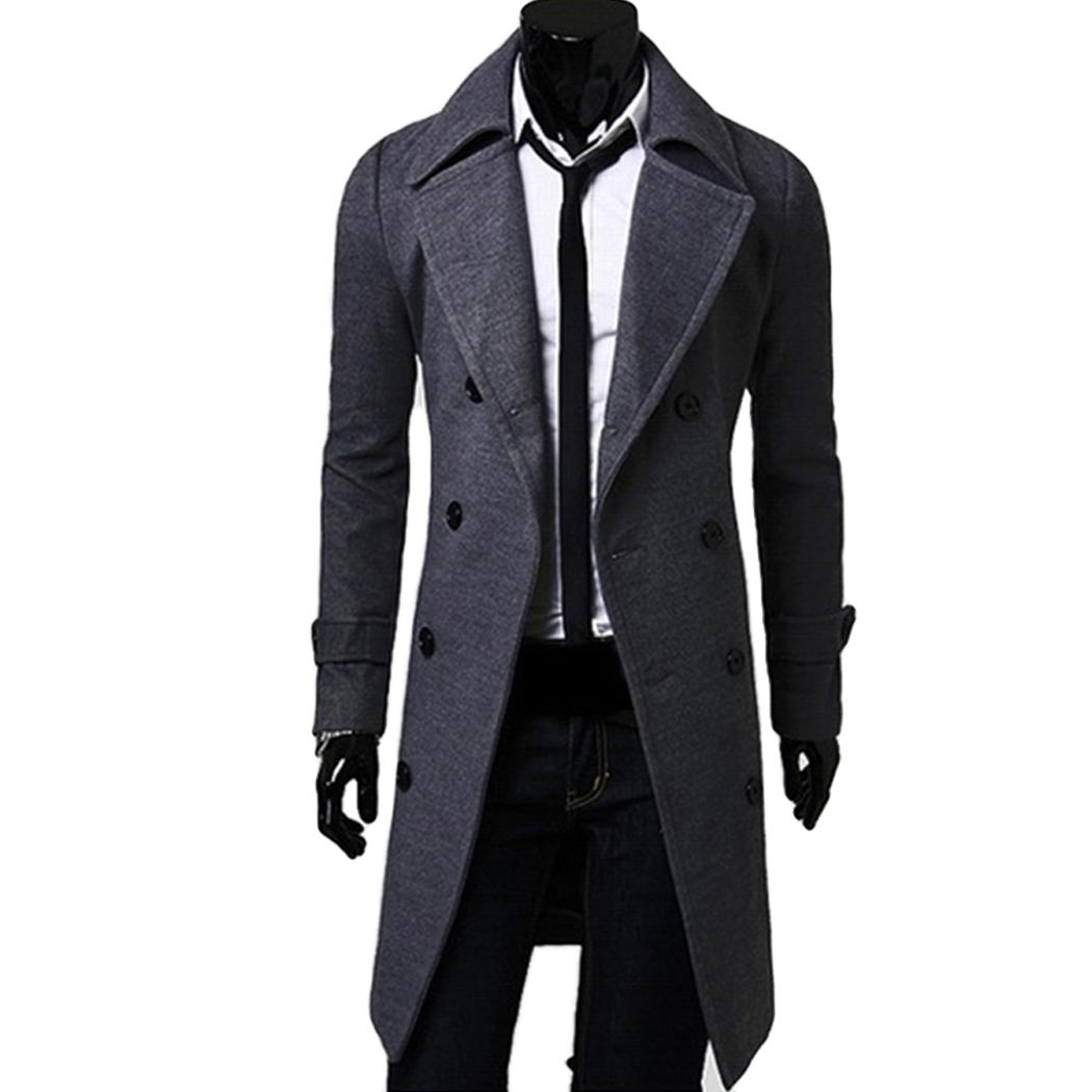 Wholesale- 2017 Casual Winter Mens Slim Stylish Trench Coat Double Breasted Long Jacket Thick Wool & Blends Plus Size 4XL Overcoat Tops