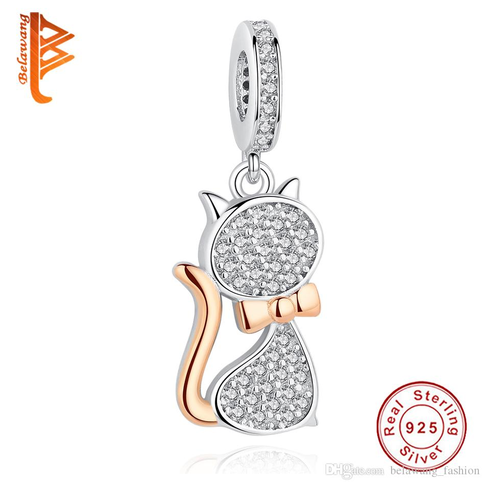 BELAWANG New 925 Sterling Silver Rose Gold Charms Lovely Cat Charm Beads Fit Pandora Charm Snake Chain Bracelets DIY Jewelry Making