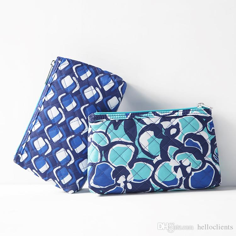 Wholesale-2017 new style woman fashion bags Printing Hand Bag Zipper Small Makeup Bag Ladies Nylon Cosmetic Bag For woman free shipping