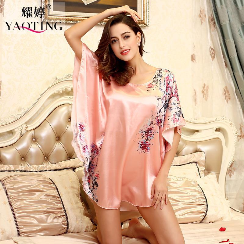 Wholesale- H1687 Top Sale Nightgowns Sleepshirts 2016 Satin Silk Plus Size home Bathrobe female Women Sleepwear Dressing Gown Floral Gown
