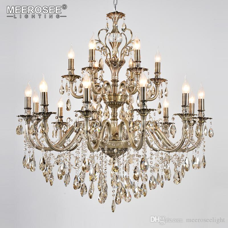 Modern Luxury Crystal Chandelier Light Fixture Brass Pendant Lampara de techo Dining room Living room Lighting MD8701 18 Lights