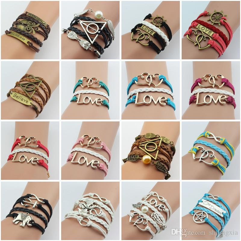 16 styles Fashion Bracelets Imitated Leather Bracelet Pearl Knitting Bronze Charm Bracelet Vintage Charm Bracelets for Women and Men