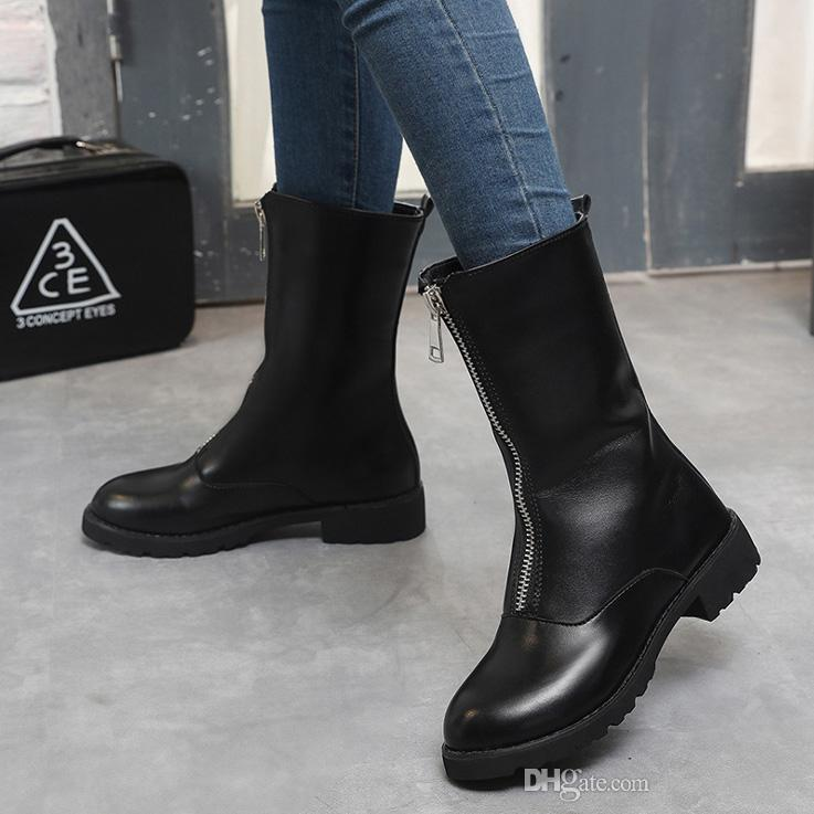 Boots Women Winter Shoes Black Leather